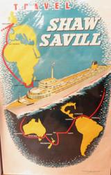 VINTAGE LARGE SHAW SAVILL LINE PROMOTIONAL POSTER