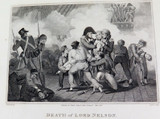 """RARE 1816 COPPERPLATE ENGRAVING. """"DEATH of LORD NELSON"""" BATTLE of TRAFALGAR."""