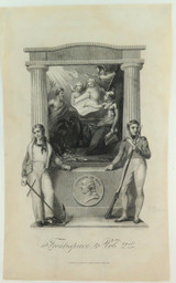 """RARE SUPERB 1817 COPPERPLATE ENGRAVING. 'FRONTPIECE to VOL 2nd"""" BOOKPLATE."""