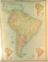 """1922 SUPERB SCARCE LARGE MAP of """"SOUTH AMERICA - POLITICAL"""". VERY NICE!"""