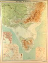 "1922 SUPERB SCARCE LARGE MAP of ""VICTORIA & TASMANIA"". VERY NICE!"