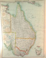 """1922 SUPERB SCARCE LARGE MAP of """"AUSTRALIA - EASTERN SECTION"""". VERY NICE!"""