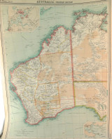 """1922 SUPERB SCARCE LARGE MAP of """"AUSTRALIA - WESTERN SECTION"""". VERY NICE!"""