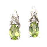 Dainty Sterling Silver Peridot & Sparkling CZ Stud Earrings 1.2g