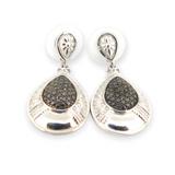 Stylish Textured Sterling Silver & Black Diamond Accent Teardrop Earrings 7.5g