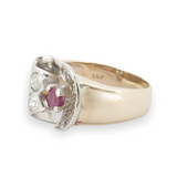 A Ruby & Diamond Retro Cluster 14K Gold Ladies Dress Ring Size L Val $3950