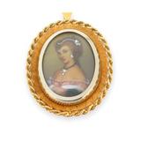 Vintage Italian 18ct Gold Diamanté Accent Hand Painted Portrait Pendant 14.2g