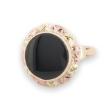 Vintage Onyx 10ct Multi Coloured Gold Ladies Signet Ring Size G 1/2 Val $1540