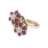A Vintage Ruby & Diamond Cluster 14K Gold Ladies Dress Ring Val $3570