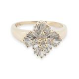Vintage 0.84ct Diamond Cluster 14K Yellow Gold Ladies Ring Size P1/2 Val $4080
