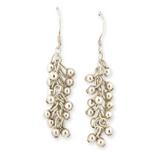 Vintage Sterling Silver Handmade 'Grapevine' Dangle Earrings 5.3g