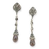 Pretty Sterling Silver Rhinestone & Smokey Quartz Art Deco Style Earrings 4.9g