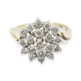 A Vintage 0.69ct Diamond 14K Yellow Gold Ladies Cluster Ring Size O Val $3590