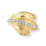 Vintage 0.25ct G VS Diamond 18K Yellow Gold Leaf Style Ring Size O Val $4950