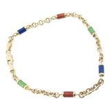 A Quality 18ct Yellow Gold & Coloured Enamel Bracelet 19.5cm Long 9.1g