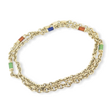 A Quality 18ct Yellow Gold & Coloured Enamel Necklace 43cm Long 12.1g
