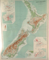 """1922 SUPERB SCARCE LARGE MAP of """"NEW ZEALAND"""". VERY NICE!"""
