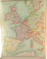 """1922 SUPERB SCARCE LARGE MAP of """"WESTERN EUROPE - COMMUNICATIONS"""". VERY NICE!"""