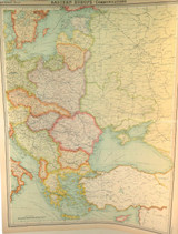 """1922 SUPERB SCARCE LARGE MAP of """"EASTERN EUROPE - COMMUNICATIONS"""". VERY NICE!"""