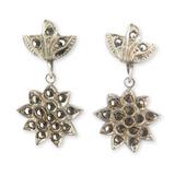 Vintage Theda Sterling Silver & Sparkling Marcasite Encrusted Earrings 4.7g
