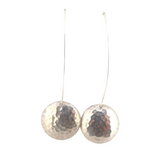 Funky Sterling Silver hammered Effect Disc Long Earrings 4.6g