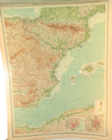 1922 SUPERB SCARCE LARGE MAP of SPAIN & PORTUGAL - EASTERN SECTION. VERY NICE!