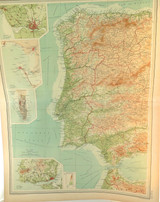 1922 SUPERB SCARCE LARGE MAP of SPAIN & PORTUGAL - WESTERN SECTION. VERY NICE!