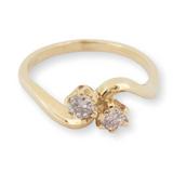 A 18k Yellow Gold 0.30ct Diamond Set Ladies 'Toi Et Moi' Two Stone Ring Size N Val $1215