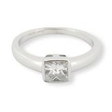 A 18k White Gold 0.73ct H VS Princess Cut Diamond Set Ring Size M Val $6890