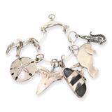 Sterling Silver Charm Assortment Pendant Dolphin Shoe Eagle Starfish Croc 18.1g