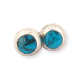Pretty Sterling Silver & Vibrant Blue Turquoise Earring Studs 1.3g