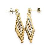 Milor Sterling Silver Tricolour Diamond Chevron Design Chain Link Drop Earrings