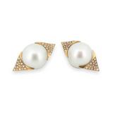 A Pair 15.5mm South Sea Pearls & 18K Gold Diamond Set Stud Earrings Val $10085