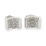 One Pair of 9ct White Gold Diamond Set Stud Earrings Val $1400