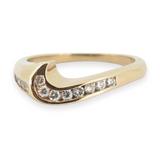A 14k Yellow Gold Diamond Set Contoured Ladies Ring Size J Val $1830