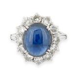 A Wonderful Cabochon Sapphire & 1.84ct Diamond Halo Set Ring Size M Val $13800