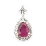 A Stunning Ruby & Diamond Tear Drop Halo 18k White Gold Pendant Val $3540