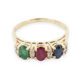 Ruby Sapphire Emerald & Diamond Ladies 14k Gold Ring Size M Val $2460