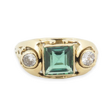 Vintage 18k Yellow Gold Green Tormaline & Diamond Set Ring Size N Val $4320