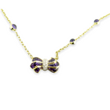 Vintage Amethyst & Diamond Set 18k Yellow Gold Necklace 42cm 13.4g Val $6170