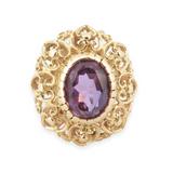 Vintage 18k Yellow Gold Filigree Heart Amethyst Set Ring Size N Val $2870