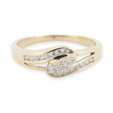 A 18k Yellow Gold Diamond Set Crossover Ladies Ring Size S Val $2980