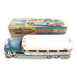 VINTAGE JAPANESE TIN PLATE GREYHOUND BUS SUPER SCENICRUISER + BOX. USA MARKET.