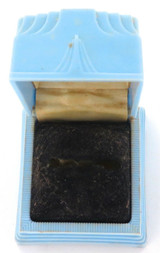 VINTAGE MACKAYS WATCHMAKERS & JEWELLERS BLUE PLASTIC RING BOX.