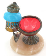 SCARCE VINTAGE RELIGIOUS ANOINTING FOUNTAIN. GLASS, METAL, ALABASTER.
