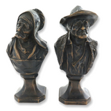 ANTIQUE SUPERB PAIR COLD PAINTED BRONZES. AGED WEATHERED FACES HUSBAND & WIFE