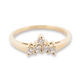 A 14k Yellow Gold Diamond Set Contoured Ladies Ring Size M Val $1540