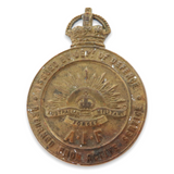 WW1 AIF BADGE / VERY LOW NUMBER 3499. RETURNED FROM ACTIVE SERVICE.
