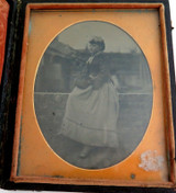 1800s FRAMED AMBROTYPE / TINTYPE OF LADY in NICE CASE ex 1999 CHRISTIES AUCTION.