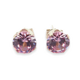 Sparkling Pair of Sterling Silver & Pink Cubic Zirconia 6mm Stud Earrings .85g